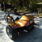 Kameleon Paint pearl 4739OR. Orange Gold Red sprayed on a Trike.