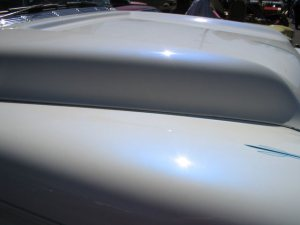 Blue Satin iridescent spectre pearls on White Hood