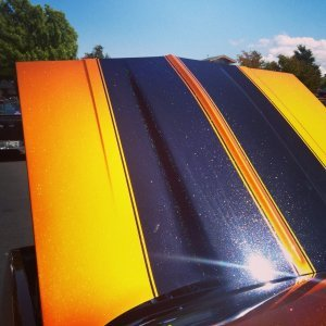 Hot Rod painted with Gold Shimmer Spectre Pearl over Shimmert Orange Copper Kandy Pearl.