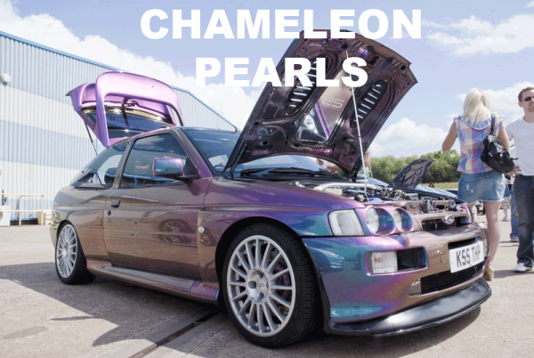Kameleon Paint Pearls in every multi-color option here. Works in paint, powder coat, even nail polish and shoe polish. Try our Kameleon Colors!