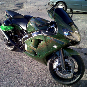 Green Holographic on a Metal Flake Super-bike.
