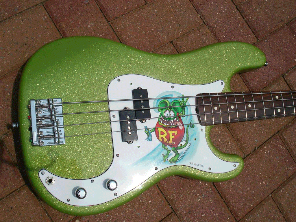 Limetreuse Flake on Rat Fink Guitar