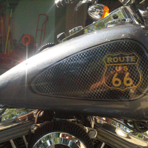 Route 66 Harley. This Bike Painted with a variety of our products, including Spectre pearls, flakes, and candy pearls.