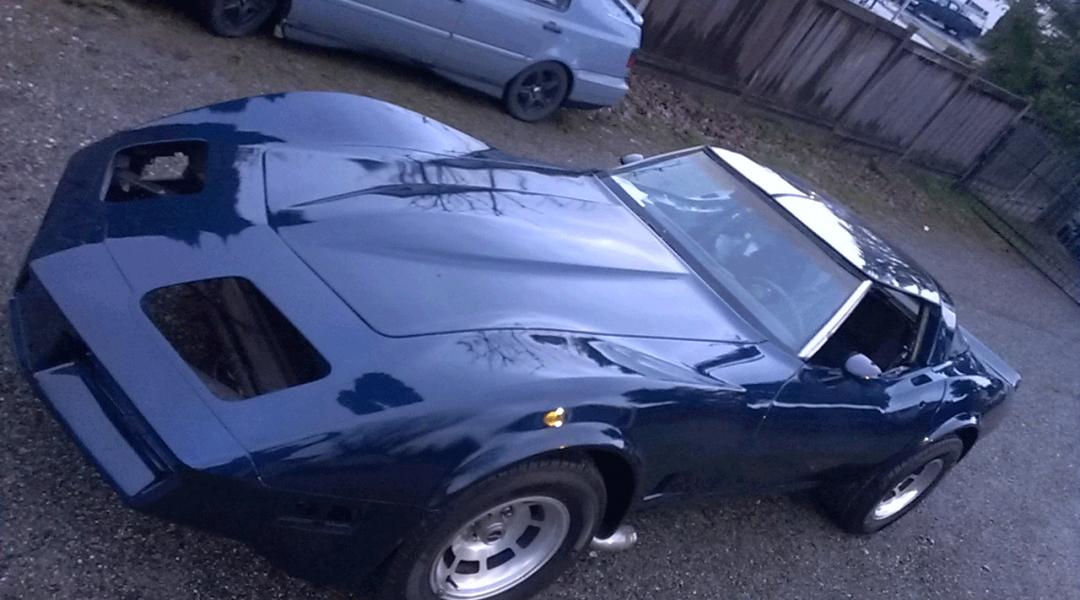 Electric Blue Corvette painted over black base coat. True Kustom Paint.