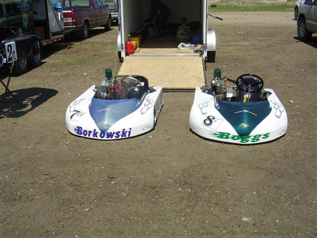 Kandy and Pearl go carts.