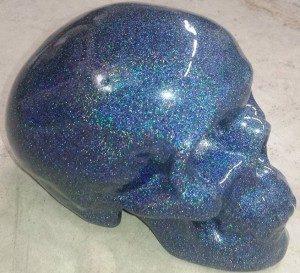 Holographic Blue Kustom Paint Job on a skull.