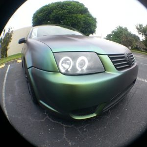 Jetta painted by Dr. Dipped With our Green Gold Indigo Kameleon Pearls