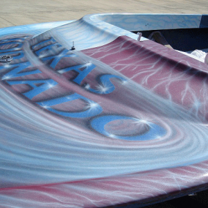 Jet boat airbrushed with Red Wine Kandy, Electric Blue, Silver Platinum Spectre Pearls.