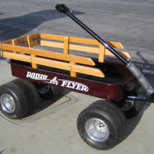 Apple Red metal Flake on Kustom Radio Flyer wagon from a user testimonial.