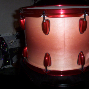 Rose Red Kandy pearls on Drum Set by DMR Drums.