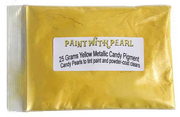 25 Gram Bag of Yellow Metallic Kandy Paint Pearls.