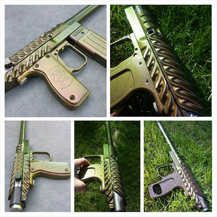 Paintball gun with 4739CS Gold Green Bronze Kameleon Paint powder coated on the surface.