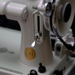 Violet Satin Spectre Pearl Close Up Sewing Machine