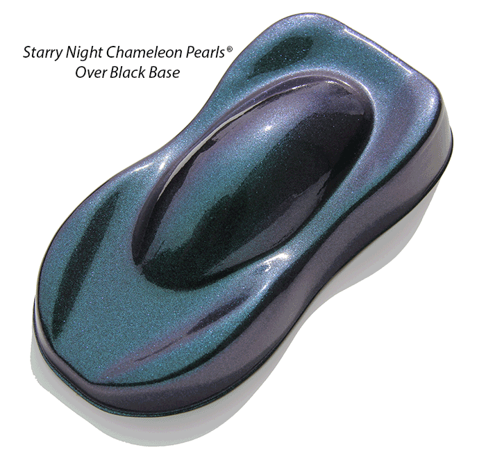 Starry Night Kustom Paint Teal Blue Purple super dark midnight chameleon over a black base coat.