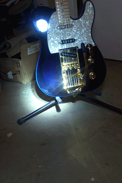 Violet Blue Spectre Pearl in stage lights for the Fender Telecaster.