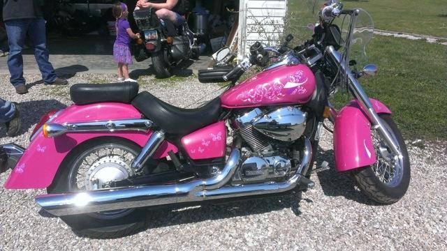 Hot Pink Harley with Silver spectre Pearls.