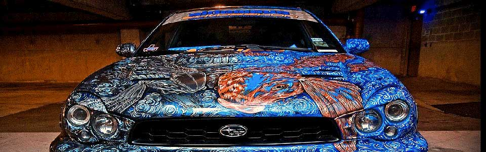 Kustom Paint Job on a Subaru from Sideways Auto Salon.