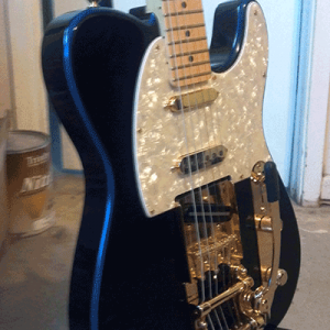 Violet Blue Fender Telecaster painted with our Violet Blue Spectre Pearl