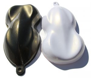 Gold Spectre Pearls Shapes painted over both black and white base coats.