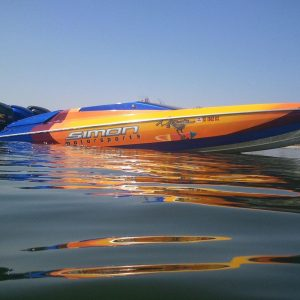 Gold Spectre and Other Pearls on Kustom Painted Racing Boat.